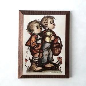 Vintage hummel hanging wood plaque of two kids